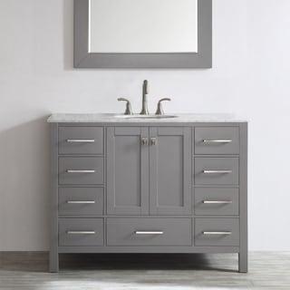 Vinnova Gela 48-inch Grey Single Vanity with Carrera White Marble Top with Mirror
