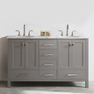 Gela 60-inch Grey Double Vanity with Carrara White Marble Top