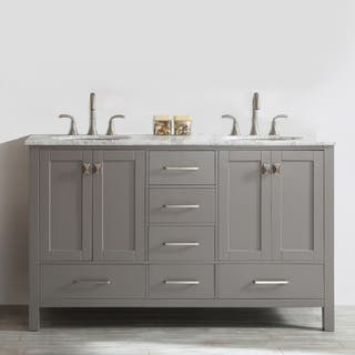 Gela 60 inch Grey Double Vanity with Carrara White Marble Top. 51 60 Inches Bathroom Vanities   Vanity Cabinets For Less