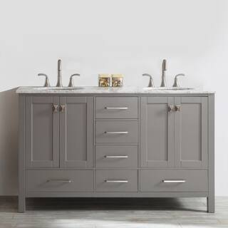 Gela 60 inch Grey Double Vanity with Carrara White Marble Top Size Vanities 51 Inches Bathroom