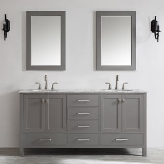Gela 72-inch Grey Double Vanity with Carrera White Marble Top with Mirror