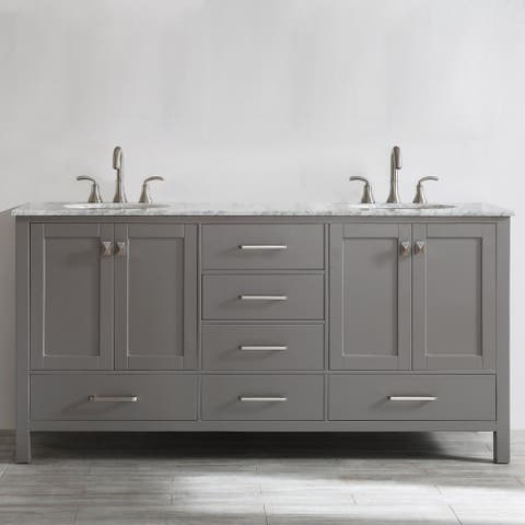 Gela 72-inch Grey Double Vanity with Carrera White Marble Top without Mirror