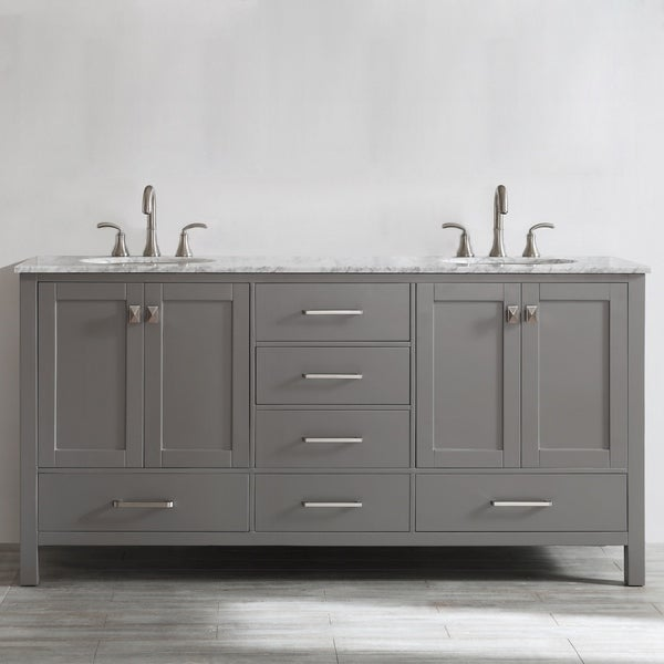 Shop Gela 72 Inch Grey Double Vanity With Carrera White Marble Top