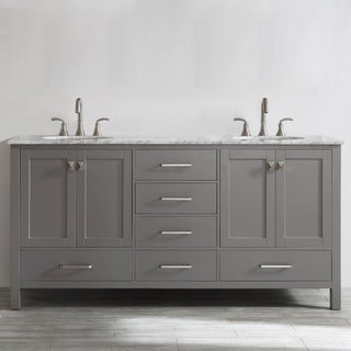 Gela 72 Inch Grey Double Vanity With Carrera White Marble Top Without Mirror