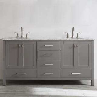 gela 72 inch grey double vanity with carrera white marble top without mirrorhttps