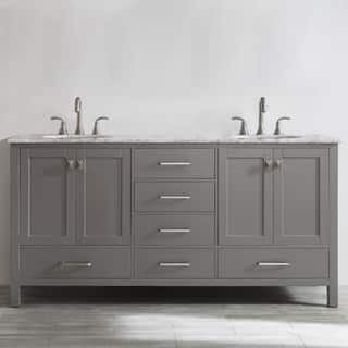 Gela 72 inch Grey Double Vanity with Carrera White Marble Top without  Mirror Option Bathroom Vanities Cabinets For Less Overstock com