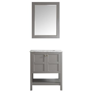 Florence 30-inch Grey Single Vanity with Carrera White Marble Top with Mirror