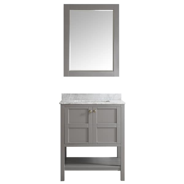 Florence 30 inch grey single vanity with carrera white marble top with mirror free shipping for 30 inch bathroom vanity without top