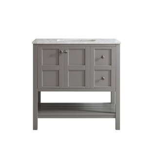 Vinnova Florence 36-inch Grey Mirrorless Single Vanity with Carrera White Marble Top
