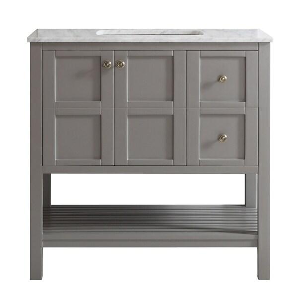 Vinnova Florence 36-inch Grey Mirrorless Single Vanity with Carrera White Marble Top