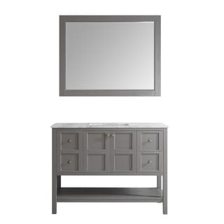 Florence 48-inch Grey Single Vanity with Carrera White Marble Top with Mirror