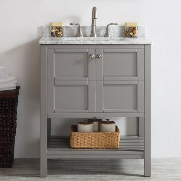 Shop florence 30 inch grey single vanity with carrera - White bathroom vanity without top ...