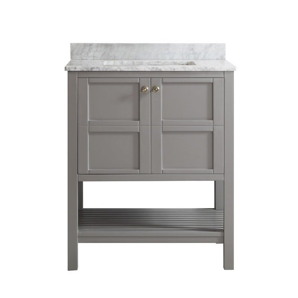 Florence 30 inch grey single vanity with carrera white marble top without mirror free shipping for 30 inch bathroom vanity without top