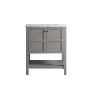 Florence 30-inch Grey Single Vanity with Carrera White Marble Top without Mirror