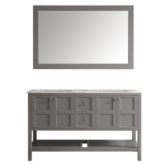 Florence 60-inch Grey Double Vanity with Carrera White Marble Top with Mirror