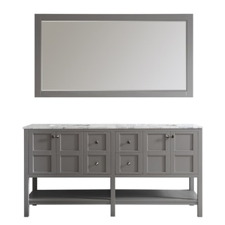 florence 72inch grey double vanity with carrera white marble top with mirror
