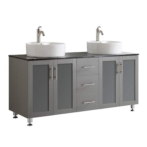 Vinnova Tuscany 60-inch Grey Double Vanity with White Vessel Sink with Glass Countertop without Mirror