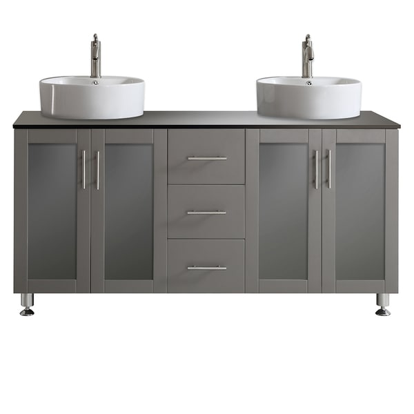 Vinnova tuscany 60 inch grey double vanity with white - White bathroom vanity without top ...