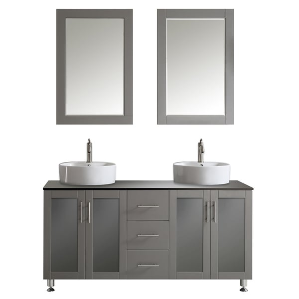 Vinnova Tuscany 60 Inch Grey Double Vanity With White Vessel Sink With  Glass Countertop With