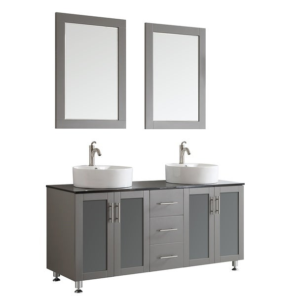 Shop Vinnova Tuscany 60 Inch Grey Double Vanity With White Vessel