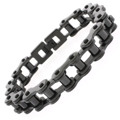 Stainless Steel Mens Black 8.5-inch Bicycle Chain Link Bracelet
