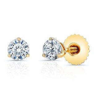 14k Yellow Gold 1/2ct TDW Round Diamond Stud Earrings