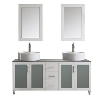 Vinnova Tuscany 72-inch White Double Vanity with White Vessel Sink with Glass Countertop, and Mirror