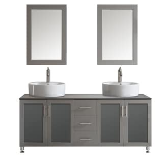 Vinnova Tuscany 72-inch Grey Double Vanity with White Vessel Sink with Glass Countertop with Mirror
