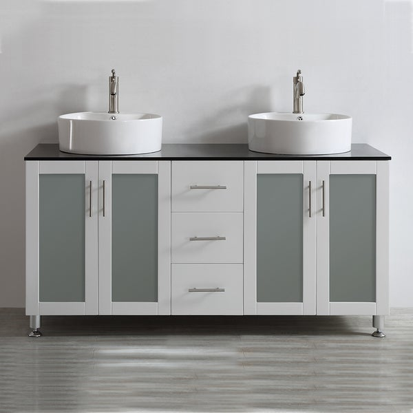 Vinnova Tuscany 60 Inch White Double Vanity With White Vessel Sink With Glass Countertop Without