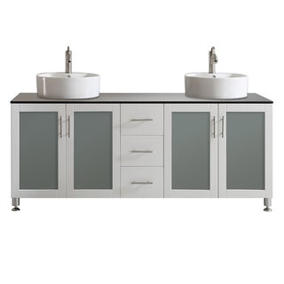 Vinnova Tuscany 72-inch White Mirrorless Double Vanity with White Vessel Sink, and Glass Countertop