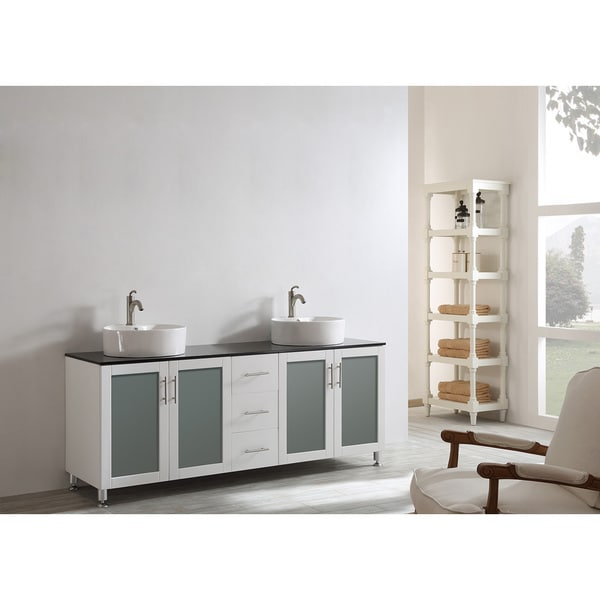 Vinnova Tuscany 72 Inch White Mirrorless Double Vanity With White Vessel  Sink, And Glass Countertop   Free Shipping Today   Overstock.com   17674268