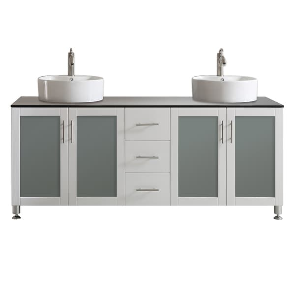 shop vinnova tuscany 72 inch white mirrorless double vanity with white vessel sink and glass. Black Bedroom Furniture Sets. Home Design Ideas