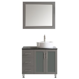 Vinnova Tuscany 36-inch Grey Single Vanity with White Vessel Sink with Glass Countertop with Mirror
