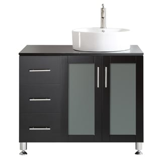 Vinnova Tuscany 36-inch Espresso Single Vanity with White Vessel Sink with Glass Countertop without Mirror