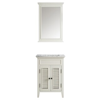 Vinnova Piedmont 24-inch Antique White Single Vanity with Carrera White Marble Top, and Mirror