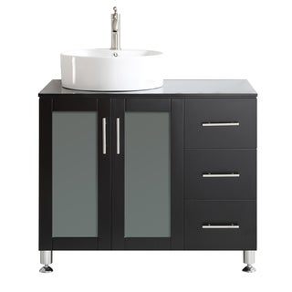 Vinnova Tuscany 36-inch Single Espresso Mirrorless Vanity with White Vessel Sink, and Glass Countertop