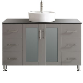 Vinnova Tuscany 48-inch Grey Single Vanity with White Vessel Sink with Glass Countertop without Mirror
