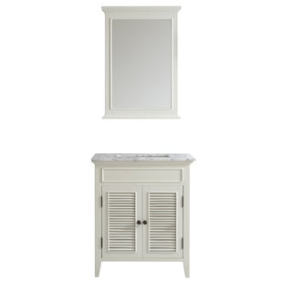 Vinnova Piedmont 30-inch Antique White Single Vanity with Carrera White Marble Top, and Mirror
