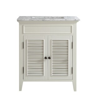 Vinnova Piedmont 30-inch Antique White Mirrorless Single Vanity with Carrera White Marble Top