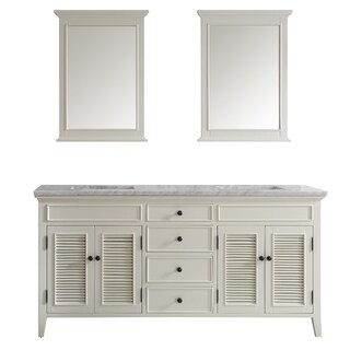 Vinnova Piedmont 72-inch Antique White Double Vanity with Carrera White Marble Top, and Mirror