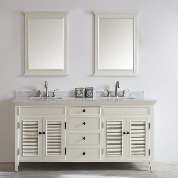 Vinnova Piedmont 72-inch Antique White Double Vanity with Carrera White  Marble Top, and - Vinnova Piedmont 72-inch Antique White Double Vanity With Carrera