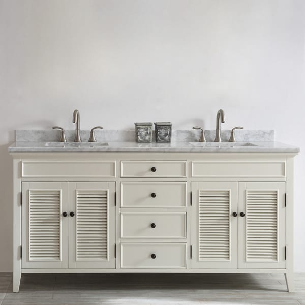 Piedmont Single Vanity And Mirror Antique White With Marble Top