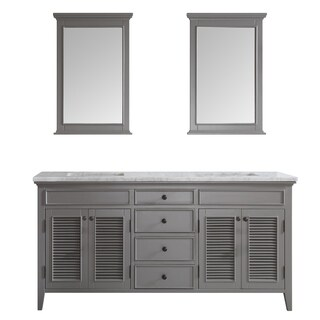 Vinnova Piedmont 72-inch Grey Double Vanity with Carrera White Marble Top, and Mirror