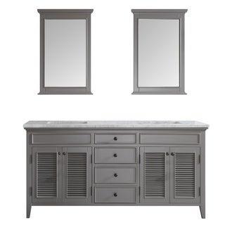 Link to Vinnova 72-inch Grey Double Vanity,Carrera White Marble Top, Mirror Similar Items in Bath