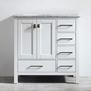 Vinnova Gela 36-inch White Single Vanity with Carrera White Marble Top without Mirror|https://ak1.ostkcdn.com/images/products/10601834/P17674306.jpg?impolicy=medium