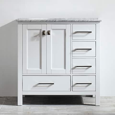 Vinnova Gela 36-inch White Single Vanity with Carrera White Marble Top