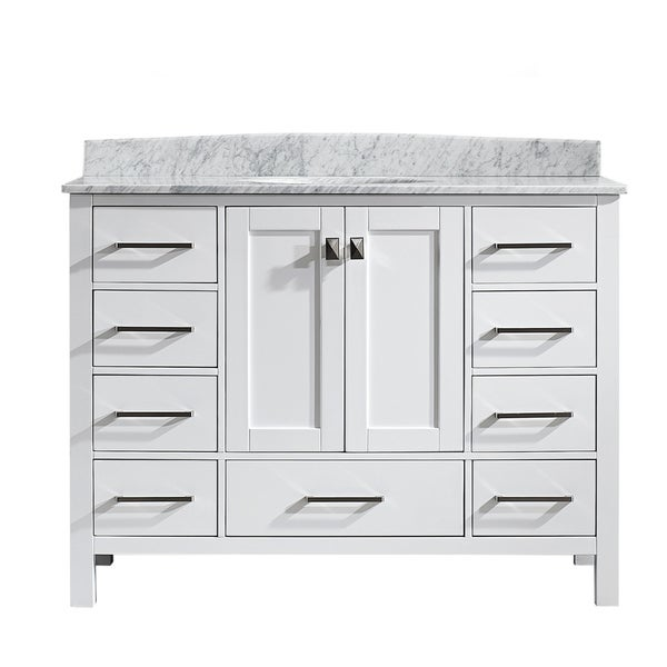 Vinnova Gela 48 Inch White Single Vanity With Carrera White Marble Top Without Mirror 17674307