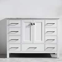Vinnova Gela 48-inch White Single Vanity with Carrera White Marble Top without Mirror