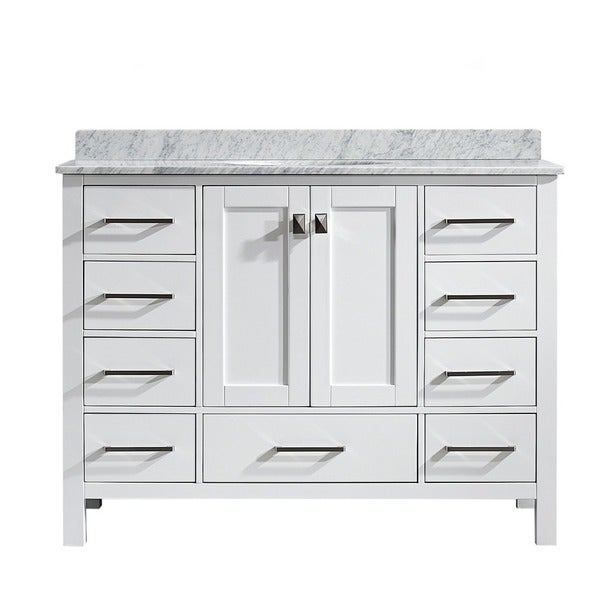 Vinnova Gela 48 Inch White Single Vanity With Carrera White Marble Top Without Mirror Free