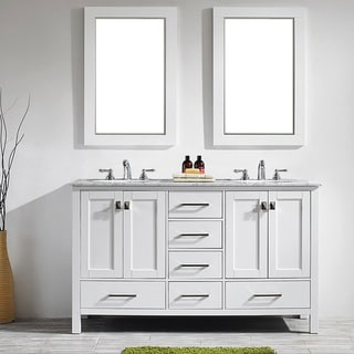 Vinnova Gela 60-inch White Double Vanity with Carrera White Marble Top with Mirror